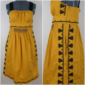 Floreat Anthro | Mustard Yellow Embroidered Dress